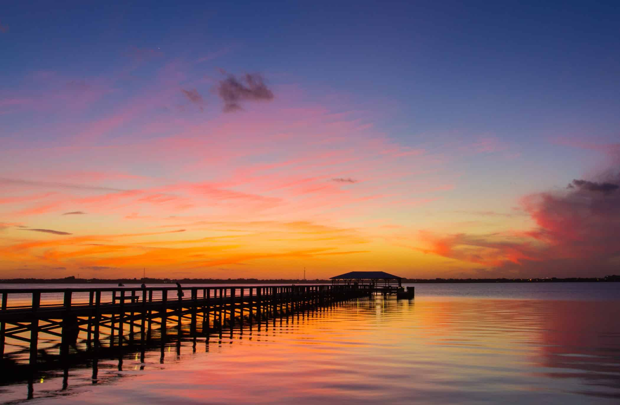 Sunset from Melbourne Beach, Florida - January 31, 2015