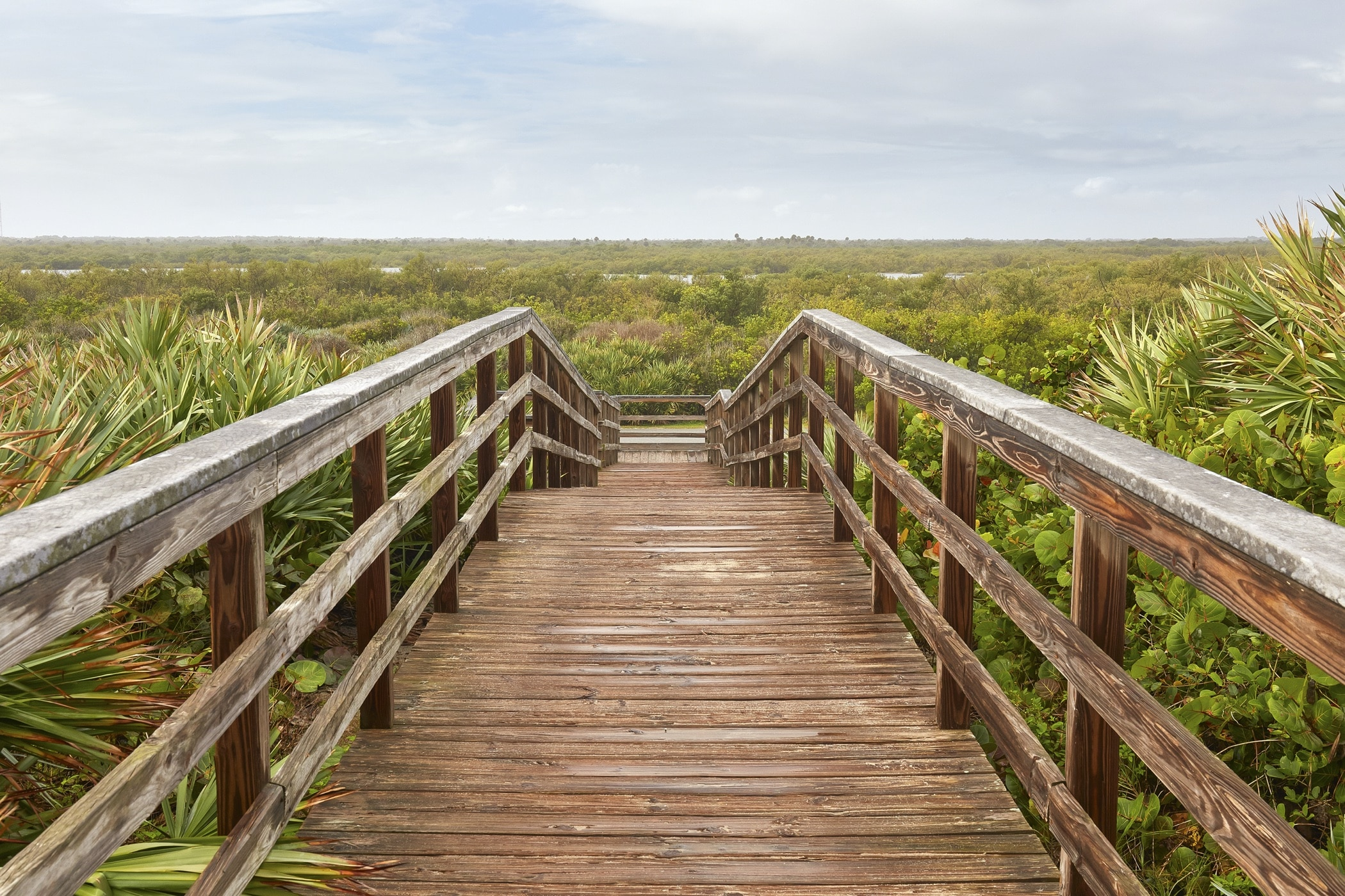 Boardwalk to/from the beach at Cape Canaveral National Seashore, Florida